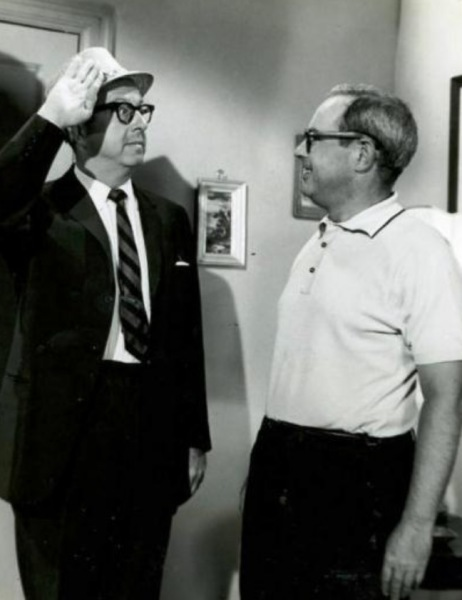 On the set Nat greets Phil Silvers.